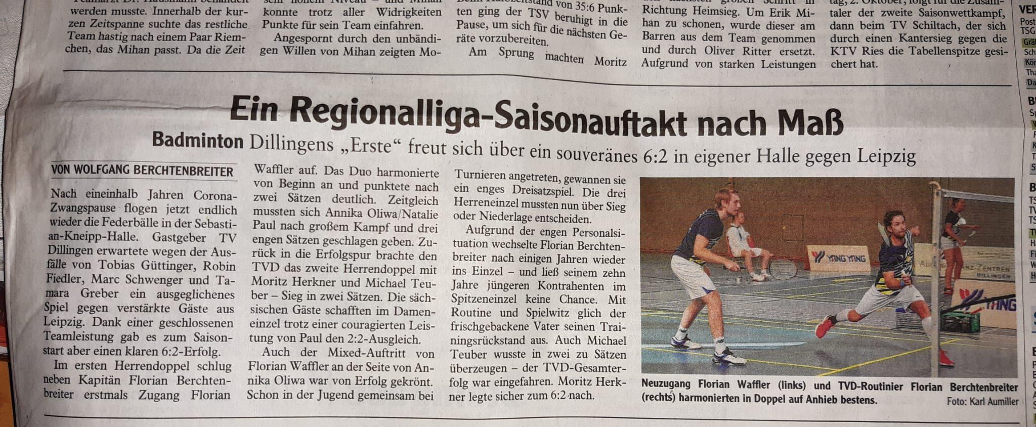 Zeitungsbericht 1. Mannschaft TV Dillingen